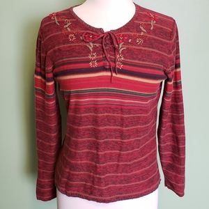 ST.JOHNSBAY • Red Striped Boho LS Top